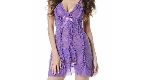40% Off Lace Babydoll Lingerie Set in Honey